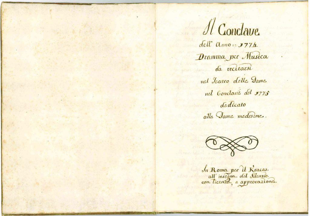 Il Conclave Dramma Satirico pag1 - 1776
